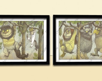 Where The Wild Things Are | Rumpus Monsters & Woods Wall Art | Set of 2 Poster Prints any size | Baby Child Kid Nursery Room Decoration