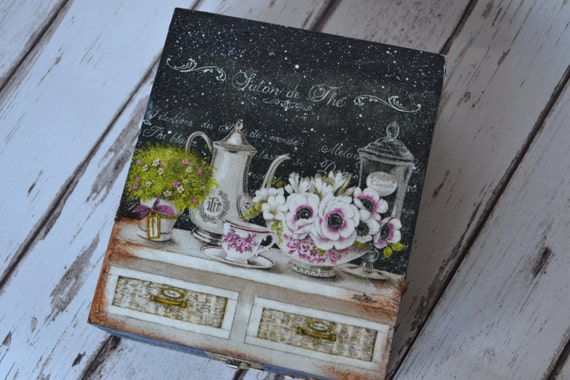 sale! Tea time in black- Elegant Vintage  Tea Box, wooden Tea caddy, keepsake or jewellery box