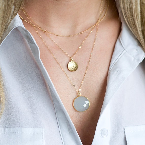 Gold Coin Chalcedony Layer Necklace