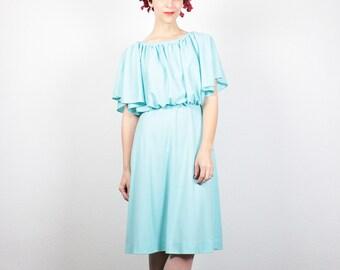 Vintage 70s Dress Hippie Dress 1970s Dress Midi Dress Sea Foam Green Mint Festival Dress Flutter Sleeve Grecian Sundress S Small M Medium