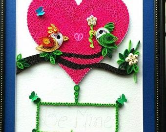 Paper quilled Love wall art|Love art|Love birds|love cards|love decor|love frame|love gift|love heart|love home decor|love print|love sign