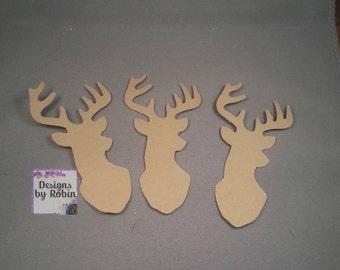 20 kraft  Deer diecuts - diecut mounted deer head - buck die cuts - wilderness diecuts-wedding - country - outdoor dies