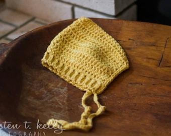 Baby bonnet in yellow, newborn photo prop, gender neutral