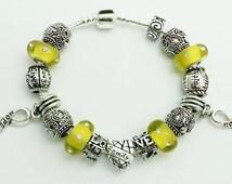 Yellow cancer awareness charm bracelet, Bladder cancer awareness, Bone cancer awareness, Sarcoma awareness, Child cancer awareness, Hope