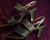 1940s shoes bottle green dance strappy heels shoes leather WW2 evening
