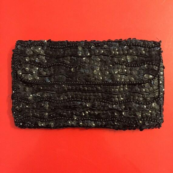 Vintage Sequin purse 50s 60s small black clutch flapper evening cocktail bag