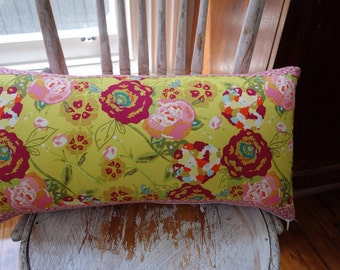 Vintage Floral fabric with Heather Bailey Jelly Beans backing & borders Cushion Cover 30cm x 60cm