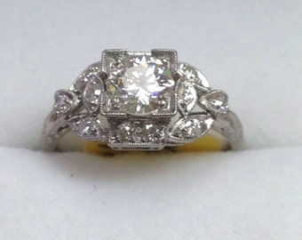 Antique diamond platinum engagement ring otrageously unique and beautiful!!