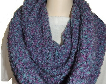 Crochet Cowl, Fingerless Gloves, Womens Accessories, Blue Purple Cowl Set