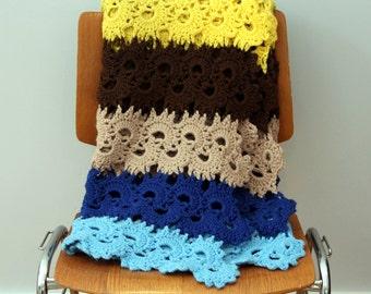 Vintage Bright Yellow Blue Brown Afghan / Crocheted Blanket / Handmade Throw