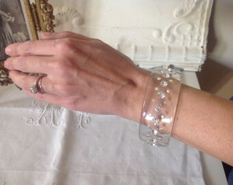 Gorgeous vintage romantic rhinestone covered clear acrylic bracelet
