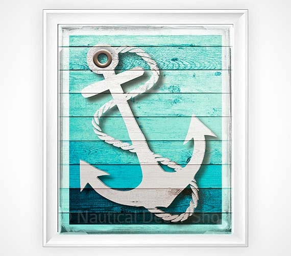 Nautical decor rustic anchor print rustic by nauticaldecorshop for Where can i buy nautical decor