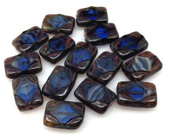 15 Blue Picasso Czech Rectangle Glass Beads 12mm