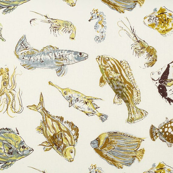 100 Linen Fish Print Fabric 2 Colorways Beige And Blue