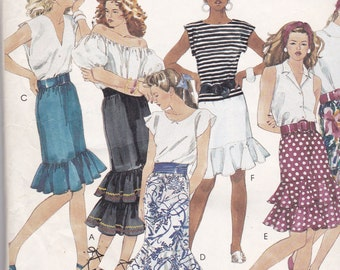 McCalls 3175 Vintage Pattern Womens Ruffled Bottom Skirts In 6 Variations Size Small/Petite