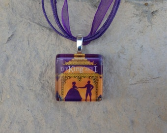 Broadway Musical The King and I Glass Pendant and Ribbon Necklace