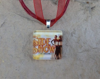 Broadway Musical Side Show Glass Pendant and Ribbon Necklace