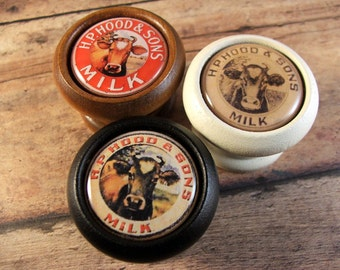 """Vintage """"Hood & Sons"""" Milk Bottle Decorative Cabinet Knobs...Price is for 1 Knob (Quantity Discounts Available!)"""
