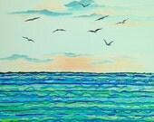 "Beach Decor Painting Original Acrylic Painting Seagulls Water Painting 16"" x 20"""