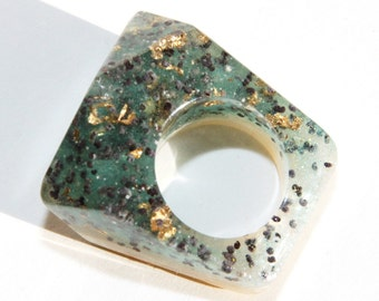 Sale!Thin Diamond Cube Handmade abstract 3D Effect rezin,glitter ring for women,girl,size US 7.