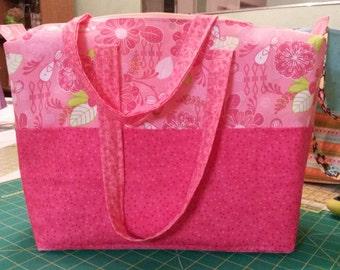 Bright pink tote bag