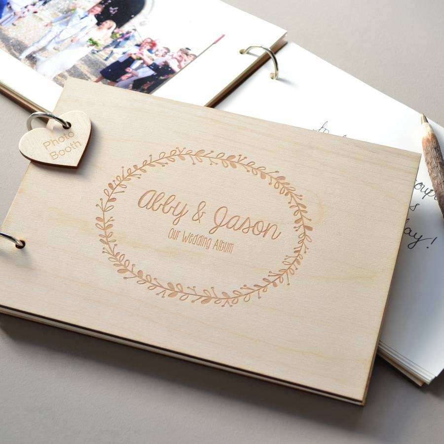 Personalised Wreath Wedding Guest Book Gift for Couples