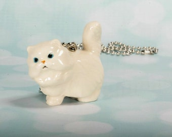 Persian Cat Necklace - Kitty Cat Necklace - White Cat Necklace - Cat Jewelry - Persian Pendant - Persian Cat Jewellery - Cat Necklace - Cat
