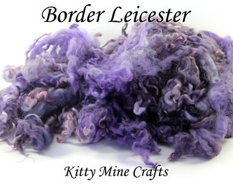 Hand Dyed Border Leicester Wool Locks - Doll Hair, Spinning Art Yarn, Felting - 3-5 inches - Purple and Grey