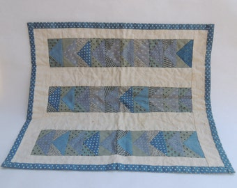 Hand Made Blue and White Doll Quilt