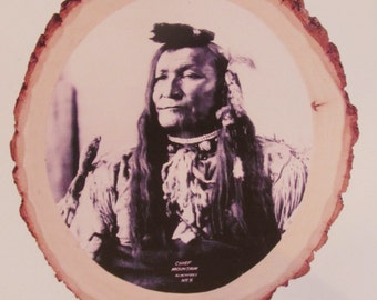 Native American Indian Photographic Portrait of Chief Mountain, Blackfeet, taken by Frank Rinehart in 1898 on 3 X 5 Inch wood  w/standard.