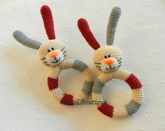 Crochet baby toy. Teething baby toy. Grasping and Teething Toys. Bunny. Stuffed toys. gift for baby!