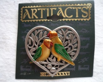 Vintage Signed JJ Silver pewter  Lovebirds within Heart  Brooch/Pin