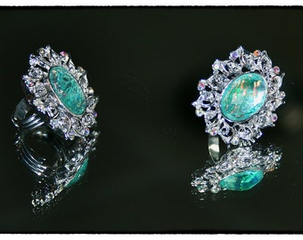 Statement Ring:  Silver, Aquamarine, Lucite, & Crystal
