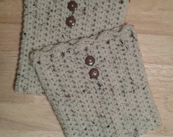Crochet, Boot Cuffs, Cream, Aran Fleck
