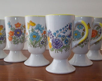 Set of 6 Vintage Butterfly Mugs/Teacups