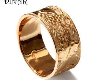Hand engraved Grapevine band, 14k Rose Gold leaf wedding band, women wide wedding ring, men's wedding band,scrolls Textured wedding band