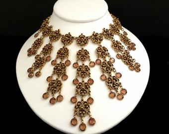 Vintage Unsigned Goldette Gold-Tone Bib Necklace Light Brown Topaz Color Crystals