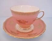 Colclough Pink and Gold Tea Cup & Saucer