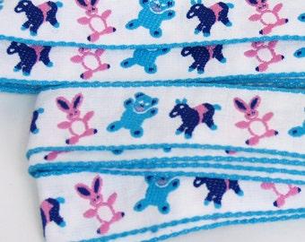 "Baby Ribbon Trim 160"" // 4.4 yards // bunny rabbit bear donkey // pink blue navy white // 4 yd 15 inches // adorable vintage"