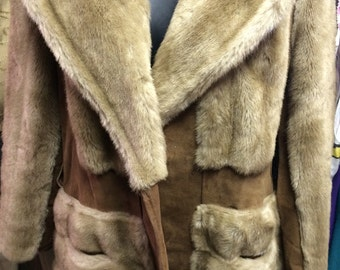 Vintage 60s/70s Lilli Ann Jacket Faux Fur and suede beautiful stunning Taupe color