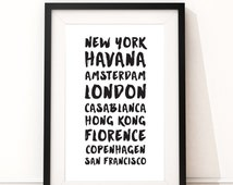 Favourite Place Names/Travel digital download print