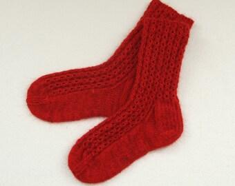 Hand-knit Red wool socks Wool socks Lace socks Red Knit socks. Highest quality sock yarn. Bed socks. House socks.