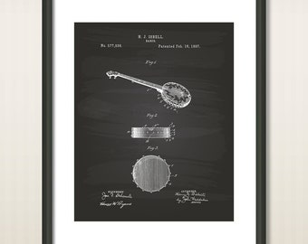 Isbell Banjo 1897 Patent Art Illustration - Drawing - Printable INSTANT DOWNLOAD - Get 5 colors background