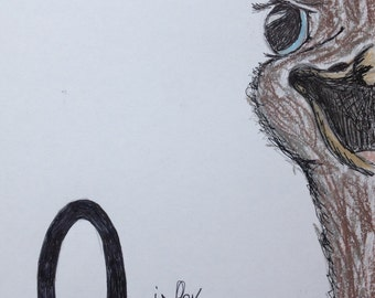 O is for Ostrich - Pen, Pencil and Pastel Nursery Sketch