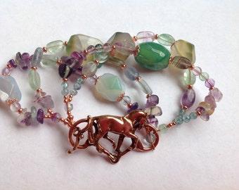 Dressage horse and snaffle bit bracelet.  Gemstones horse jewelry Zimmer.
