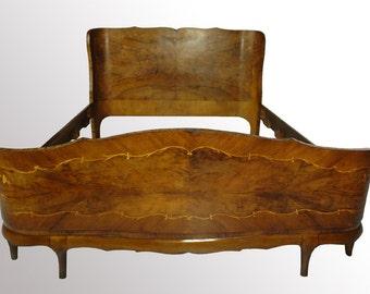 14543B Beautiful Antique Burl Walnut Stylish Full Bed