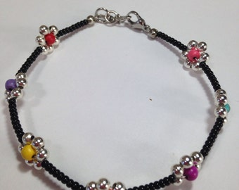 Black and Silver rainbow colored Flower Anklet