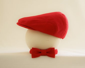Valentine photo prop set, Red newsboy hat and bow tie set, Valentines baby red hat and red bow tie - made to order