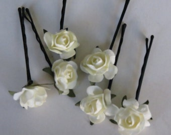 SALE Set of 6 Ivory (White) Flower Hair Pins Wedding Hair Bobby Pins  Wedding Accessory Bridal Flower Bobby Pins