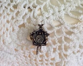 Vintage CooCoo Clock Tie Tack / Pin